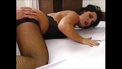 Fantastic black haired MILF in fishnet stockings nailed